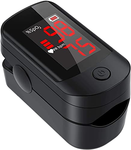 Pulse Oximeter Fingertip, Blood Oxygen Saturation Monitor with Accurate Fast Spo2 Reading Oxygen Meter, Oxygen Monitor with Lanyard and Batteries (Black)
