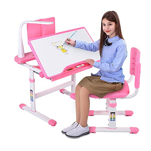 Pink Kids Desk, Adjustable Height Develop a Good Sitting Posture Effective Eye Protection, School Desks for Kids, with Eye Protection Light, Kids Table and Chair Sets