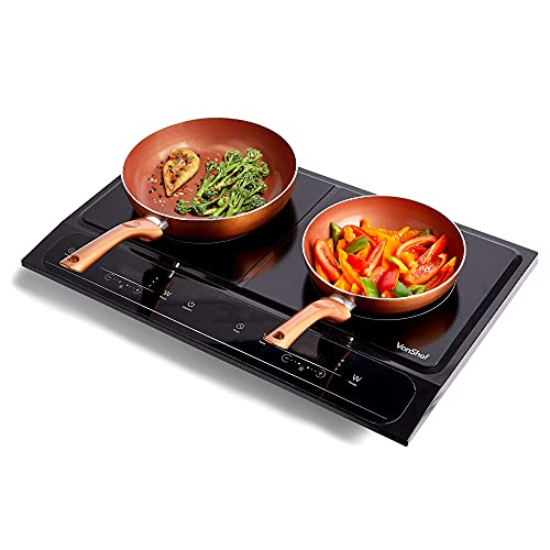 VonShef Twin Induction Hob - 2800W Portable Dual, Double Plate Electric Table Top with LED Display, Built-In Timer, 10 Heat Settings (60-240°C) for Home, Camping, Caravan, Student Living & Cooking