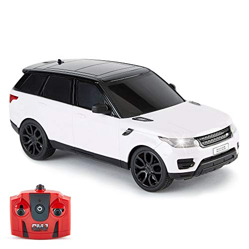 CMJ RC CarsTM Range Rover Sport Remote Control Car 1:24 scale with Working LED Lights, Radio Controlled Supercar (Range Rover Sport White)