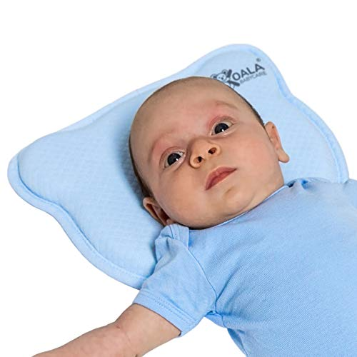 Plagiocephaly Baby Pillow with Two Removable Pillowcases to Help Prevent and Treat Flat Head Syndrome in Memory Foam - KoalaBabycare® - Perfect Head - Blue