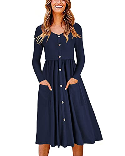 OUGES Women's Long Sleeve V Neck Button Down Casual Dress Midi Skater Dress with Pockets(Navy,XL)