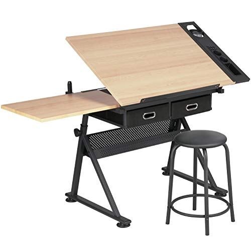 Yaheetech Adjustable Height Drawing Table, Drafting Table, Artist Drawing Table with Tiltable Tabletop, Art Craft Desk for Artwork, Graphic Design, Reading