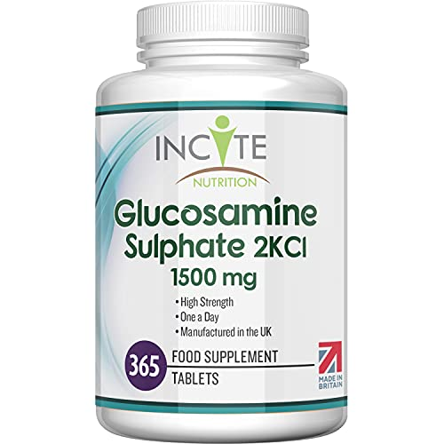 Glucosamine Sulphate 2KCl 1500mg Supplement   365 Premium Tablets (12 Month's Supply)   High Strength Quality Glucosamine Sulphate 2KCl   Made in The UK by Incite Nutrition®