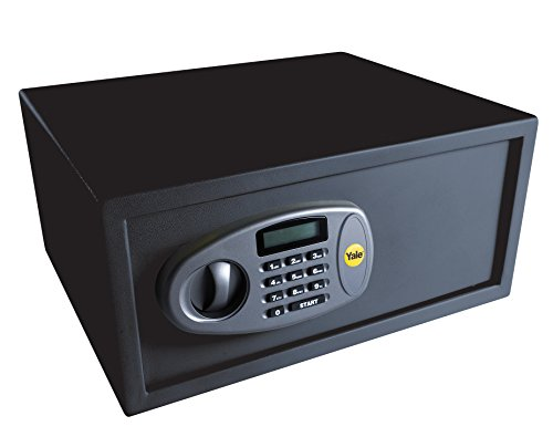 Yale Y-LTS0000 Laptop Digital Safe, Steel Construction, Steel Locking Bolts, LCD Display, Ideal For Laptop And Media Storage, Wall And Floor Fixings, Black Finish, 24 Litre Capacity 20 x 43 x 35 cm