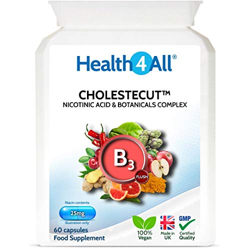 Vitamin B3 Niacin (Nicotinic Acid) 25mg & Botanicals Complex 60 Capsules (V) (not Tablets) Cholestecut Made in The UK by Health4All