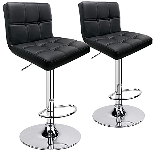 Leader Accessories Bar Stools (2/Set) Adjustable Bar Chairs Breakfast Dining Stools for Kitchen Island Counter PU Leather Double Stitching Square Back with decoration (Black)