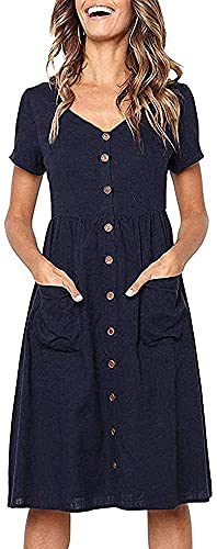 Summer Dresses for Women Casual Midi Dress Short Sleeve Shirt Dress V Neck Button Down Swing A Line Tunic Dress with Pockets(Navy Blue,Tag XL = UK 14-16)