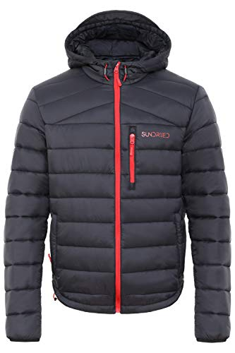 Sundried Men's Quilted Black Warm Winter Coat Hooded Puffer Jacket - Padded Warm, Lightweight Winter Jacket, Water Resistant Rain Coat, Microfibre Filler - Ideal in Cold Weather (Black, Medium)