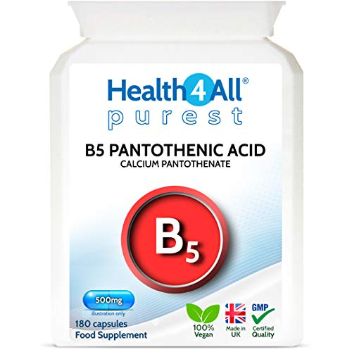 Vitamin B5 Pantothenic Acid 500mg 180 Capsules (V) (not Tablets) Purest: No Additives, Vegan. Made in The UK by Health4All.