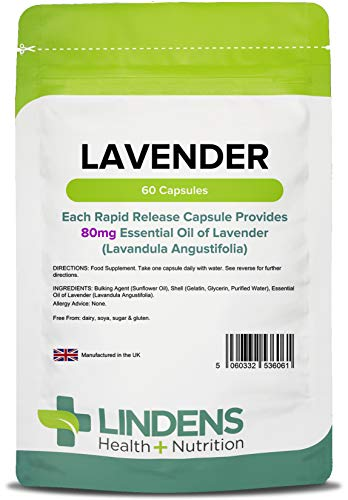Lindens Lavender Essential Oil 80mg Capsules - 60 Pack - Rapid Release in A Convenient Softgel Capsule Has A Long Standing Association with Relaxation - UK Manufacturer, Letterbox Friendly