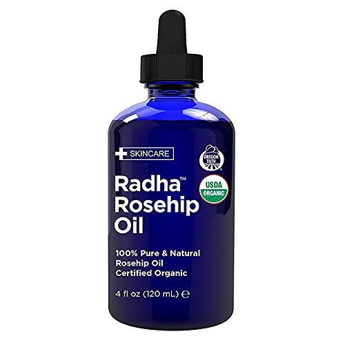 Radha Beauty - Rosehip Oil USDA Certified Organic 120mL with Natural Anti-Aging Moisturising Treatment for Face, Hair, Skin & Nails, Acne Scars, Wrinkles, Dry Spots