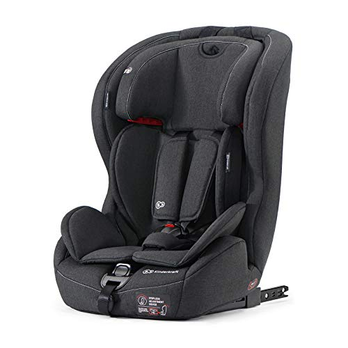Kinderkraft Car Seat SAFETY FIX, Booster Child Seat, with Isofix, Top Tether, Adjustable Headrest, for Toddlers, Infant, Group 1-2-3, 9-36 Kg, Up to 12 Years, Safety Certificate ECE R44/04, Black