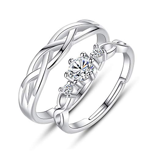 Chandler Matching Rings for Couples Set of 2 for Women Men Girls Silver Open Adjusted Ring for Wedding Band Marriage Lovers Promise Ring