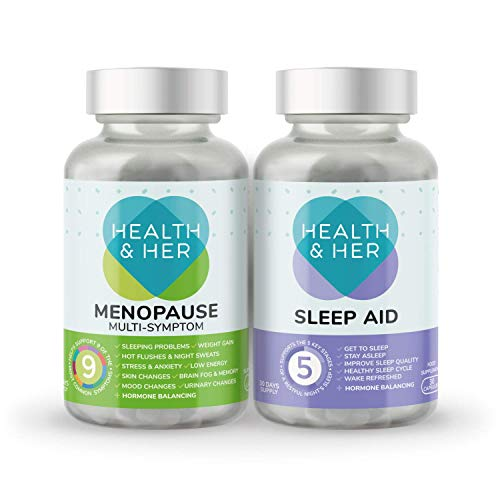 Health & Her Menopause Tablets for Women - Day & Night Bundle - Helps Support Menopause Symptoms Such as Poor Sleep, Hot Flushes, Night Sweats, Stress & Anxiety – Vegan - 1 Month Supply (Bundle)