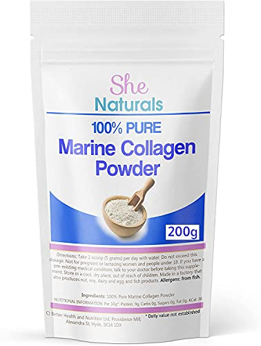 Marine Collagen Powder (200g) Peptides Supplement - Highest Quality from Fish - for Skin, Hair and Nails