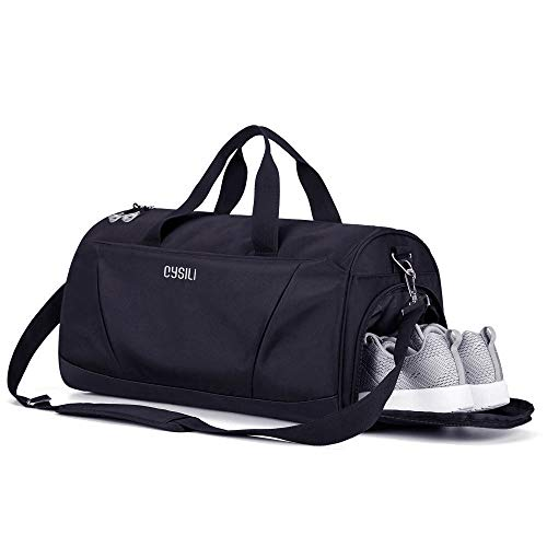 Gym Bag with Shoes Compartment and Wet Pocket,Sports Duffel Bag for Yoga/Swim,Travel Duffle Bag for Men and Women (Black-Ⅱ)