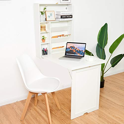 COSTWAY Folding Wall Mounted Drop-Leaf Table, Space Saving Floating Dining Table with Adjustable Storage Shelves, Home Office Living Room Bedroom Hanging Computer Desk (White)