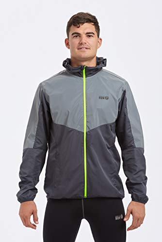 Time To Run Men's 2021 High Visibility Reflective Spirit Lightweight Running Jacket Large Charcoal/Silver