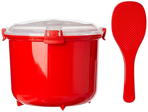 Sistema 1110ZS Microwave Rice Cooker | 2.6 L | Dishwasher Safe Small Rice Cooker | BPA-Free | Red/Clear