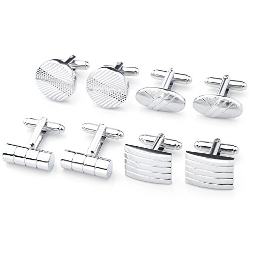PiercingJ 4 Pairs of Men's Stainless Steel Classic Silver Tone Cufflinks