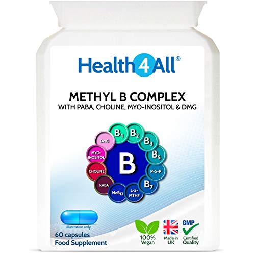 Methyl B Complex 60 Capsules (V) (not Tablets) with Methylcobalamin, Methyl Folate, P5P, Choline, Myo-Inositol, DMG and PABA for Stress Support, Energy and methylation. Made in UK by Health4All