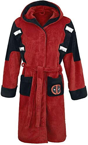 Deadpool Official Marvel Fleece Adult Dressing Gown Bathrobe, Red, One Size