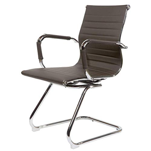 EVRE Cantilever Office Boardroom Desk Chair Chrome Finish with PU Leather Visitors Chair - Dark Brown