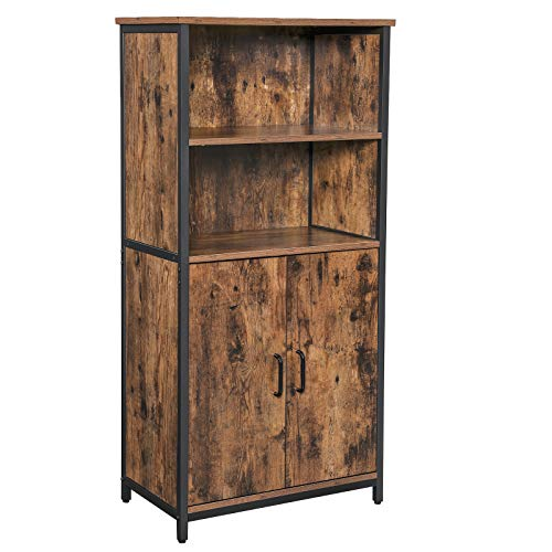 VASAGLE Floor Standing Cabinet, Storage Cabinet, Kitchen Cupboard with 2 Open Compartments, 1 Adjustable Shelf Behind Doors, Multifunctional, Industrial Style, Rustic Brown and Black LSC66BX