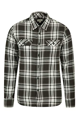 Mountain Warehouse Trace Mens Flannel Long Sleeve Shirt - 100% Cotton Checks Shirt, Lightweight, Breathable, Casual, Zipped Pocket - Ideal for Travelling & Walking Pale Blue L