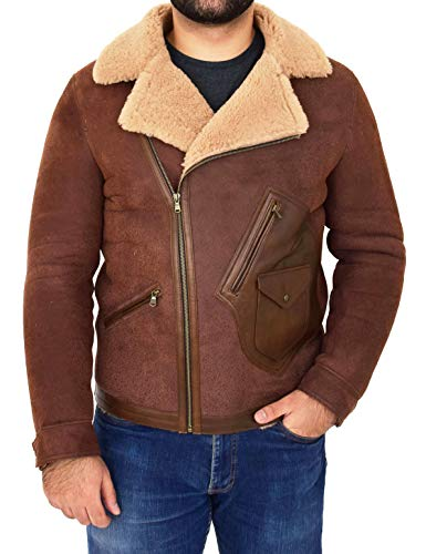 Mens Real Sheepskin Jacket Fitted Antique Brown Flying Shearling Aviator B3 Coat - Rocky (Medium)