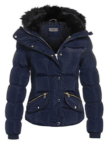 SS7 Women's Padded Winter Quilted Fur Parka Jacket, Sizes 8 to 14 (UK - 14, Navy)