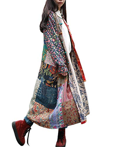 LZJN Women's Trench Coat Floral Print Jacket Chinese Style Patchwork Outwear (12139 Vintage Grey, One Size)