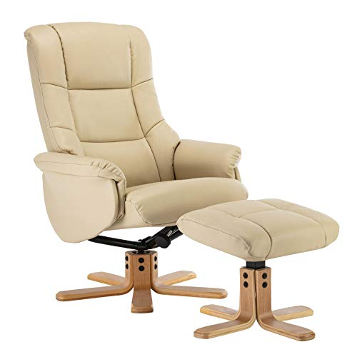 Morris Living Cairo Swivel Recliner Chair & Footstool in Cream Plush Faux Leather