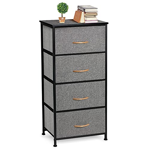 COSYLAND Chest of Drawers Cationic Fabric 4-Drawer with Wooden Handle, Storage Organizer Unit for Bedroom Living Room Closet, Sturdy Steel Frame, Easy Pull Fabric Bins & Wooden Top, Fabric Dresser