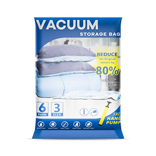 Vacuum Storage Bags 6 Bags - 2 Jumbo + 2 Extra Large + 2 Medium Reusable Storage Bags with Travel Hand Pump for Duvets, Bedding, Pillows, Clothes, Quilts, Sweater, Comforters, Dresses, Suitcases