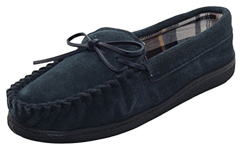 Mens Jo & Joe New England Real Suede Leather Moccasin Slippers Size 7-12 (UK 9, Navy)