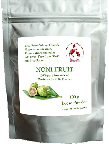 Lonjevitee Noni Freeze Dried Fruit Powder 100g in a resealable Pouch