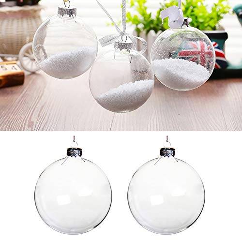 Warmiehomy 10 X Christmas Tree Baubles Clear Glass Fillable Ornaments Ball for Christmas Party Birthday Wedding Decorations 10cm