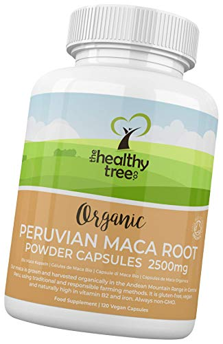 Organic Maca Capsules by TheHealthyTree Company - High Strength 2500mg Extract per Capsule for Men and Women - 120 Vegan Maca Root Powder Tablets