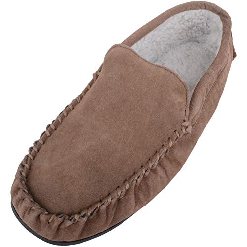 SNUGRUGS Mens Berber Fleece Lined Moccasin Slipper with Non-Slip Rubber Sole - Taupe - UK 9