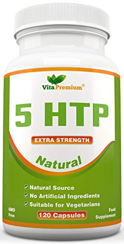Natural 5HTP 100mg, 120 Vegetarian Capsules, 4-Month Supply, Non-GMO, Extra Strength Sleeping Aid