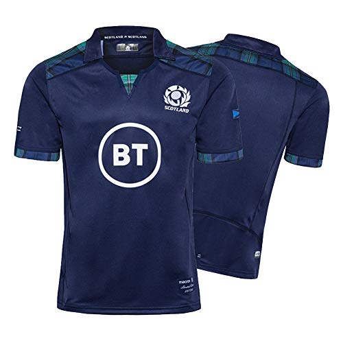 2020 Scotland Men's Rugby Jersey, Home World Cup Cotton Jersey Graphic T-shirt, Embroidered Fabric Supporter Football Sport Top, Ideal for Leisure and Sport-XL