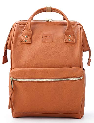 Kah&Kee Leather Backpack Diaper Bag with Laptop Compartment Travel School for Women Man (Large, Camel)