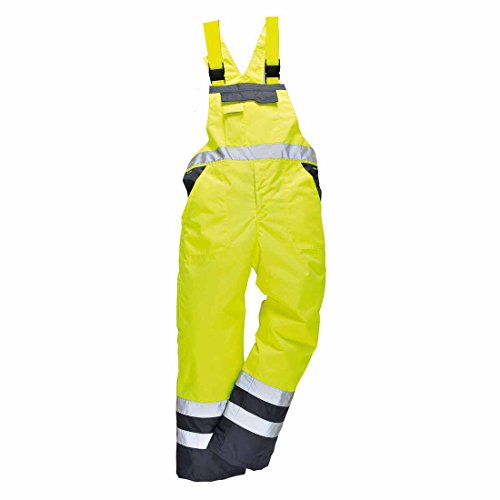 Men's Workwear 100% Polyester Waterproof Contrast Bib N Brace Ulined Dungarees Ideal for Work Fish Boat Sail (Small Waist To Fit  30-32, Yellow/Navy)
