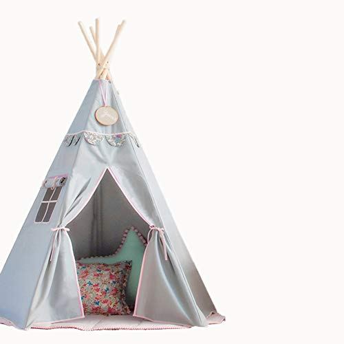 RONGFA Teepee Tent for Kids with Carry Case & Window Foldable Children Play Tents Playhouse for Girls 5 Poles(Grey with pink )