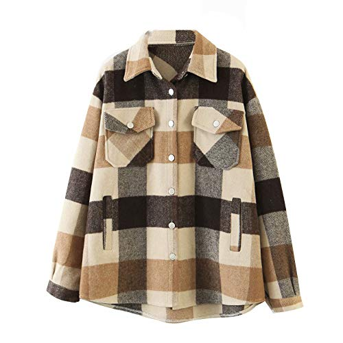 Rouyamiao Women's Casual Lapel Plaid Button Short Pocketed Shacket Long Sleeve Shirt Jacket (Coffee, S)