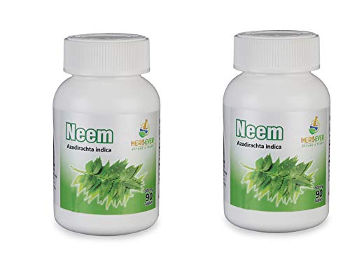 HerbEver Neem for Healthy Skin 90 Tablets 500mg GMO Free Natural Vegetarian Pack of 2 (Total 180 Tablets)