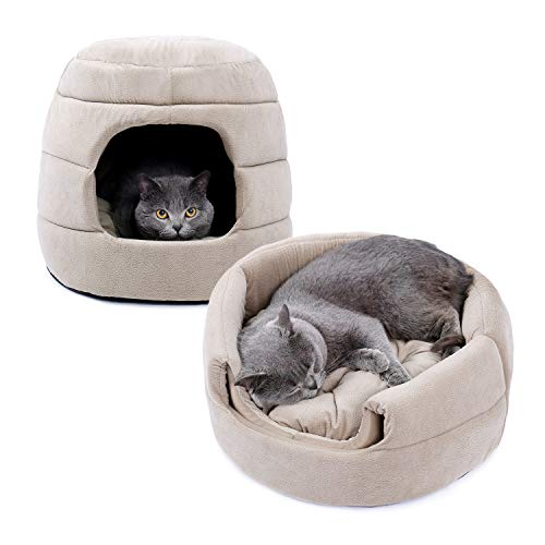 PAWZ Road 2 in 1 Cat cave house and sofa with detachable cushion, washable Dog Igloo bed Pet soft basket cave bed for dog and cat nesting Beige