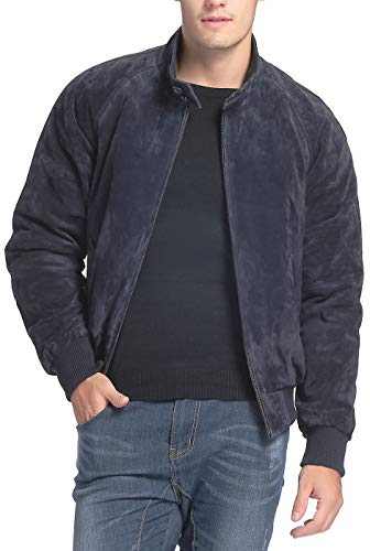 Landing Leathers Men WWII Suede Leather Bomber Jacket Navy Big and Tall 4XLT
